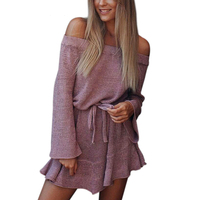 SESOAF Casual Off Shoulder Long Knitted Sweater Dress Women Cotton Slim Bodycon Dress Pullover Female Autumn
