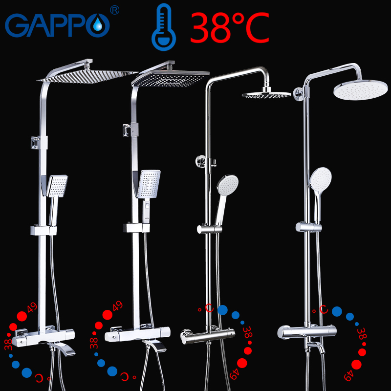 GAPPO Thermostatic Sanitary Ware Suite Shower Set Rainfall Faucet Hot And Cold Black  Faucet Bathtub Thermostatic Shower Mixer