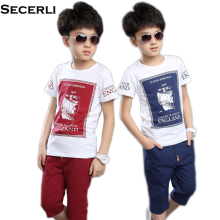 2017 New Boys Summer Set Kids T Shirt Shorts Set Children Short Sleeve Shirt Boys Clothing Set 3 to 14 Year Kids Boy Sport Suit