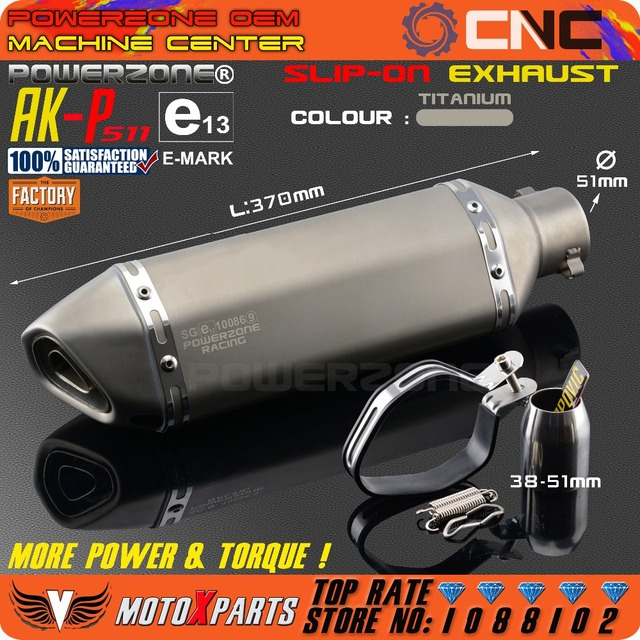 Modified Motorcycle E-Mark AK-P511 Exhaust Pipe Universal Muffler For CB CRB YZF TTR KTM EXC R6 ZX-6R ZX-10R GSXR Scooter ATV