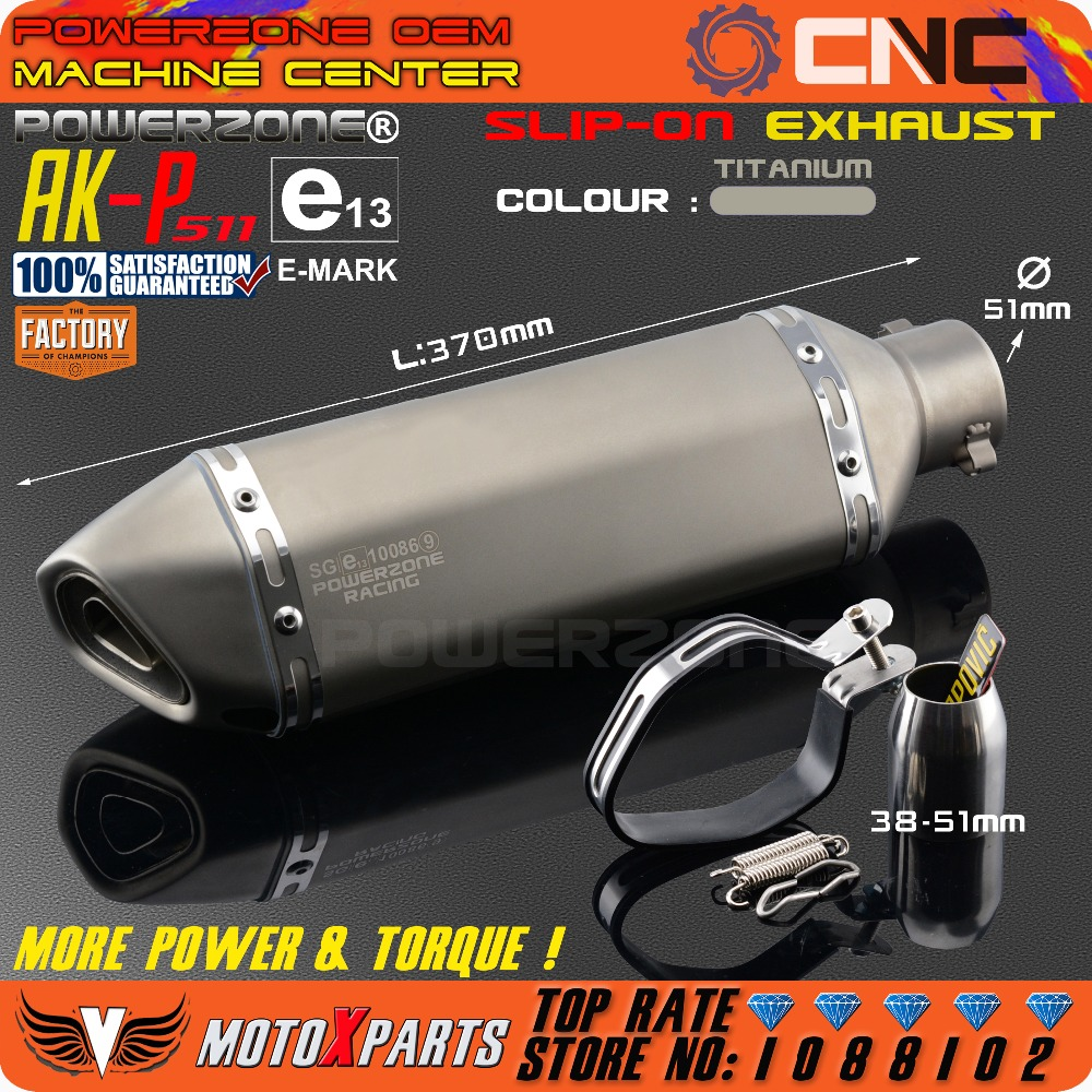 Modified Motorcycle E Mark AK P511 Exhaust Pipe Universal Muffler For CB CRB YZF TTR KTM EXC R6 ZX 6R ZX 10R GSXR Scooter ATV
