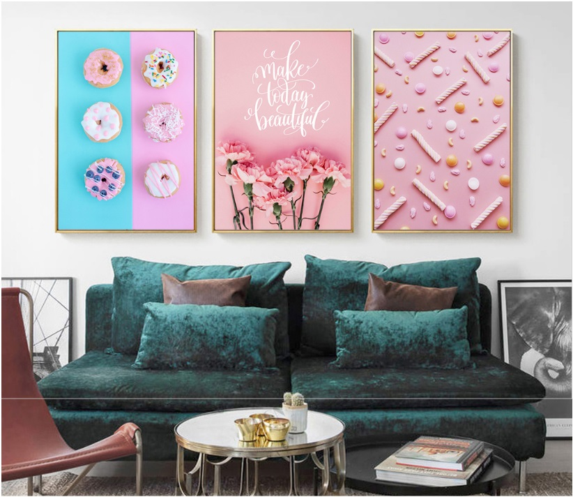 HJIAART Nordic Pink Candy Donut Flower Print Picture Wall Art Canvas ...