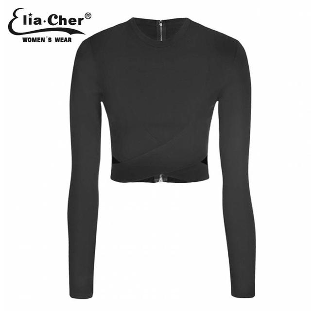 Mujeres camiseta invierno crop tops de manga larga de señora top eliacher marca más mujeres del tamaño ocasionales clothing mujeres tee tops