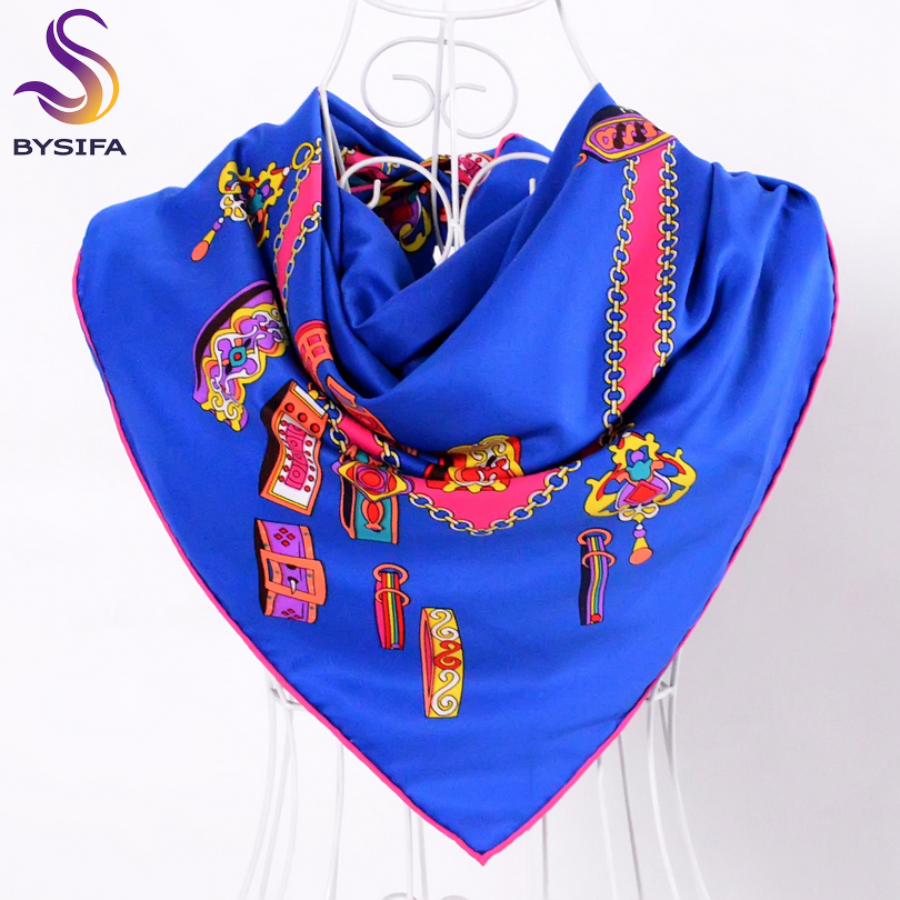 [BYSIFA] Brand Black Twill Silk Scarf Shawl Fashion Elegant High Quality Women Spring Autumn Square Scarves 90*90cm Bufandas