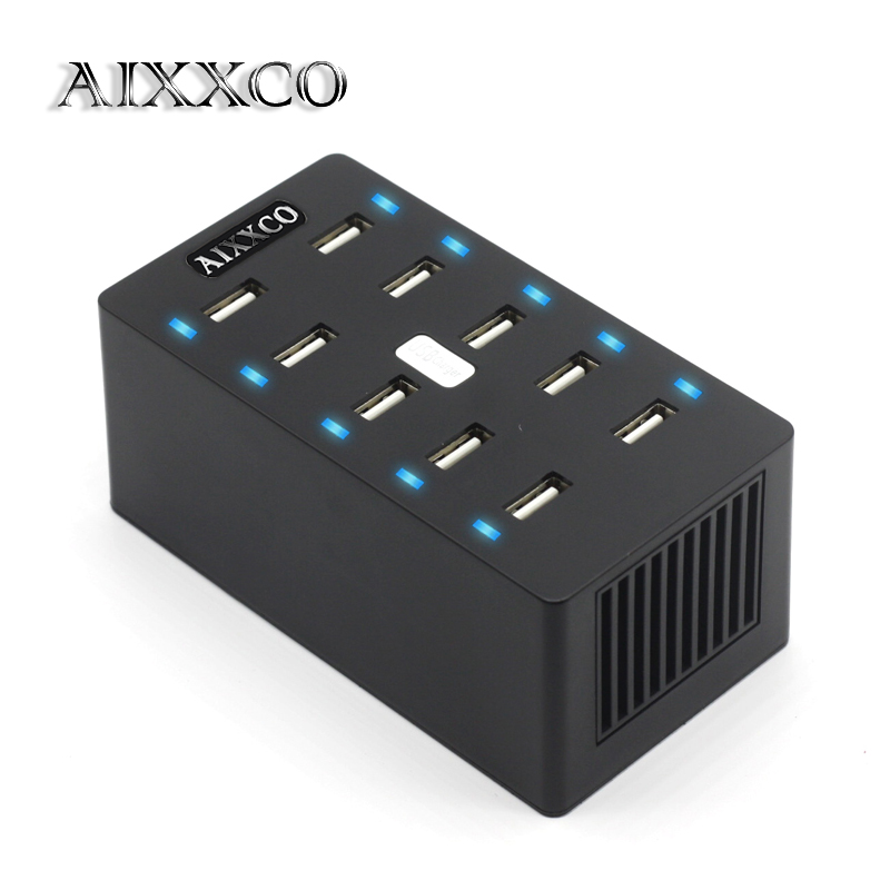 AIXXCO USB-lader 50W 10 porter USB 10A Smart Adaptive Desktop Charging Station med Holder 5V 2.4A for Samsung Xiaomi iPad