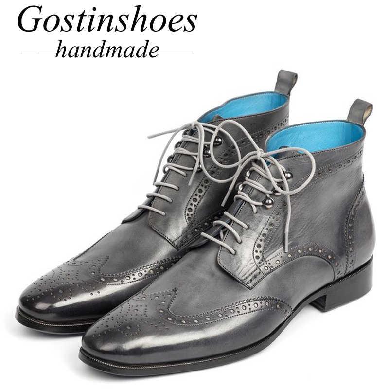 GOSTINSHOES/ручная работа, хорошо Окаймленный туфли на толстой подошве, мужские рабочие и защитные ботинки из натуральной кожи в байкерском стиле на шнуровке с острым SCT44-47