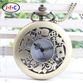 Free shipping Alice in Wonderland Theme Rabbit &Playing Card & Key Pocket Watch Vintage Necklace Pendant Bronze Watch Gifts