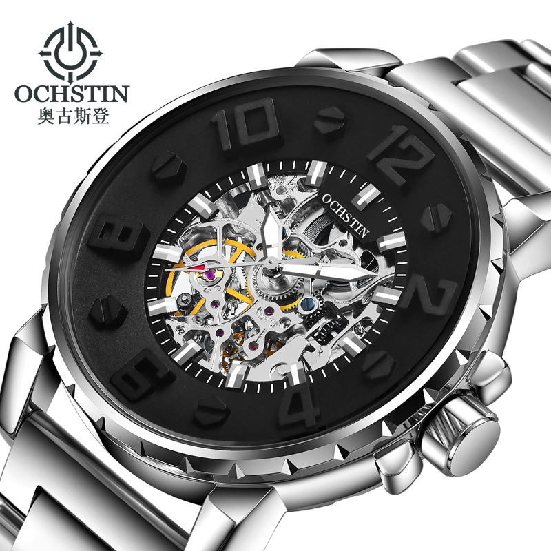 New Fashion Full Stainless Steel Mechanical Watch Mens Black Luminous Automatic Self-Wind Male Sport Waterproof Clock WristWatch women favorite extravagant gold plated full steel wristwatch skeleton automatic mechanical self wind watch waterproof nw518