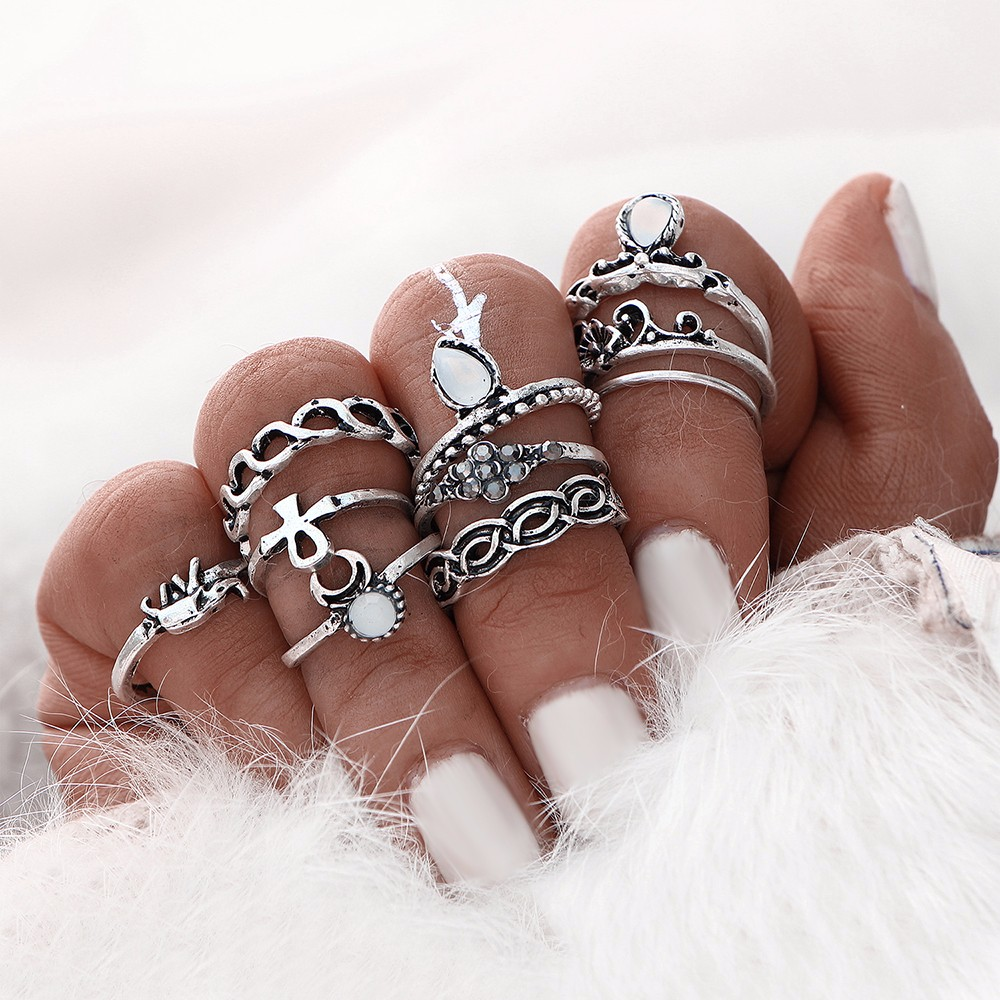 10pcs/set Gold Silver Color Boho Beach Vintage Flower Elephant Midi Knuckle Ring Set