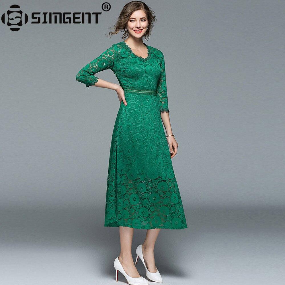 Simgent 2018 New Fashion Spring Women Elegant V Neck Midi Casual ...