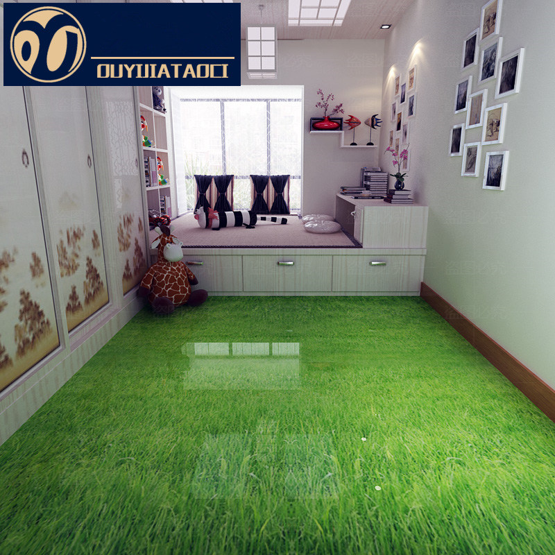 Art Floor Green Grass Antique Brick Bedroom Non Slip Floor