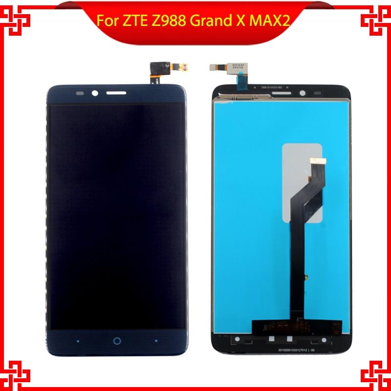 New For ZTE Z988 Grand X MAX 2 Full LCD Display Digitizer Touch Screen Bezel Assembly VI032 T16 0.35 5pcs lot100% new original for zte grand memo 5 7 n5 u5 n9520 v9815 lcd display touch screen assembly free shipping 100% tested