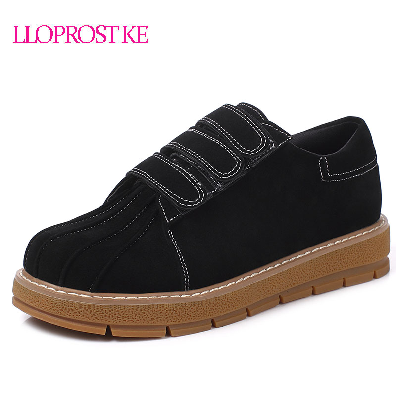 цены LLOPROST KE Women Flats New Spring Round Toe Casual Shoes Woman Flat Heel Flat Bottom Comfortable Shoes Lady Flats Size 45 MY101