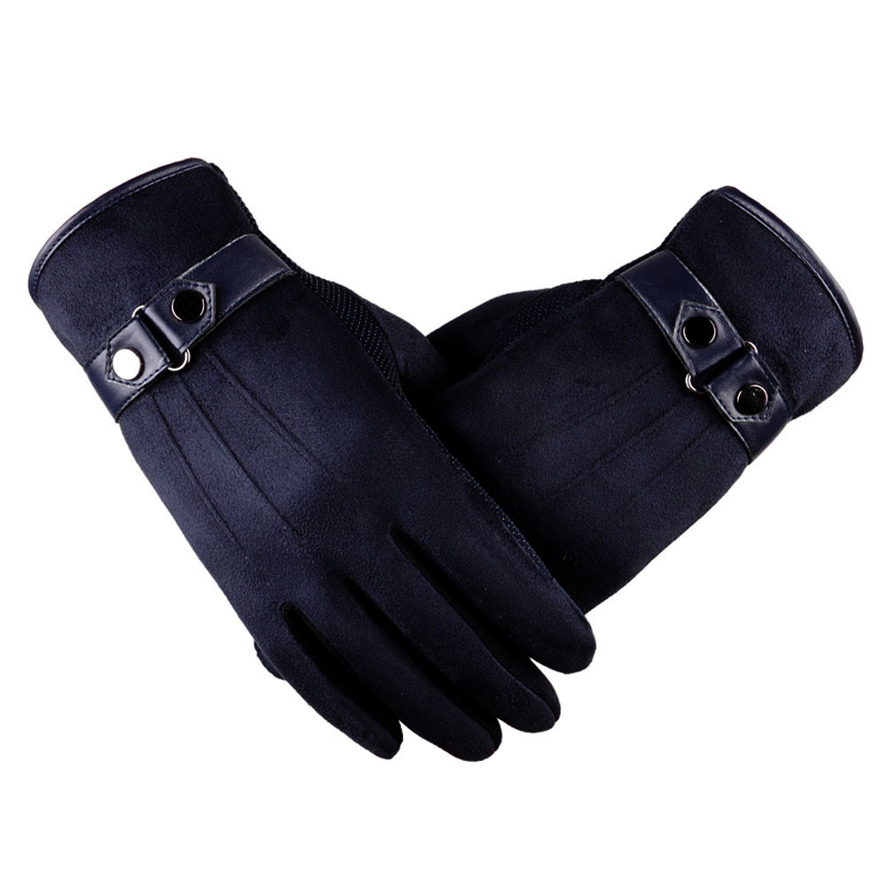 Gloves Warm Black Winter Male Men Better Faux-Suede -Bl5