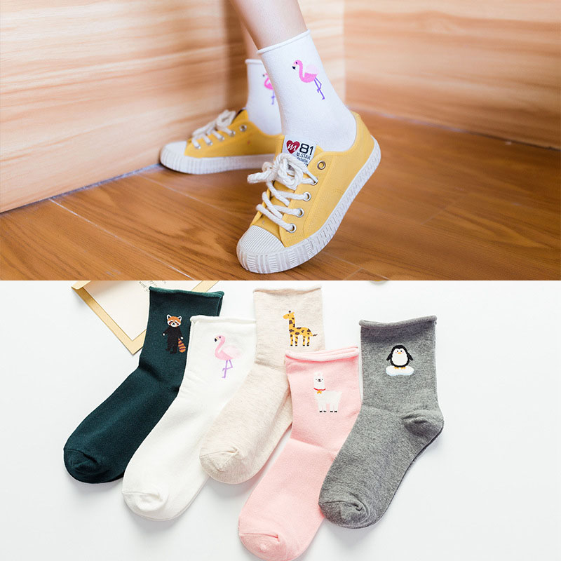 2019 New Women's cotton   socks   Fashion All seasons Cartoon Flamingo Pattern For Ladies Trend Harajuku Loose   Socks