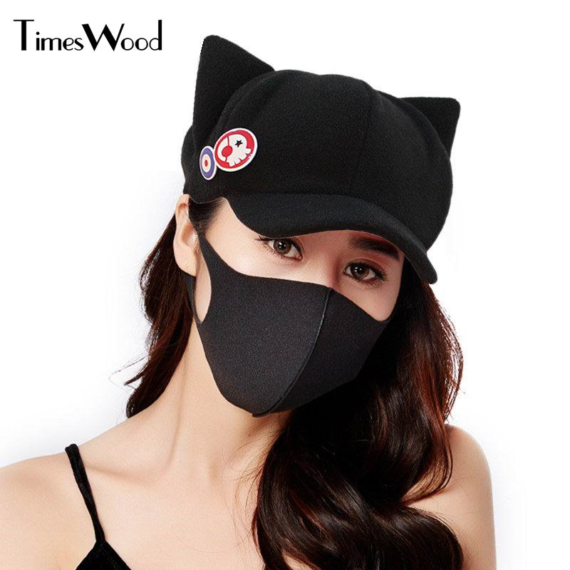 [TIMESWOOD] 2 In 1 Adult Women Novelty Anime Baseball Caps Cosplay Creative Japan Bones For Lady Autumn Winter Cute Cat Ear Hat hot anime cat yellow cosplay hat cap costume accessory cartoon adult lovers hat winter totolo hat female ear plush animal hat