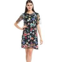 Top Quality Elegant Embroidery Net Yarn Dress Women Style Flower Party Dresses Lapel A-line Retro Summer Dress Vestido 4003
