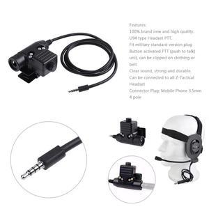 Image 2 - 80cm U94 Type PTT câble adaptateur militaire Z113 réduction du bruit pour téléphone portable 3.5mm prise Jack 2Pin