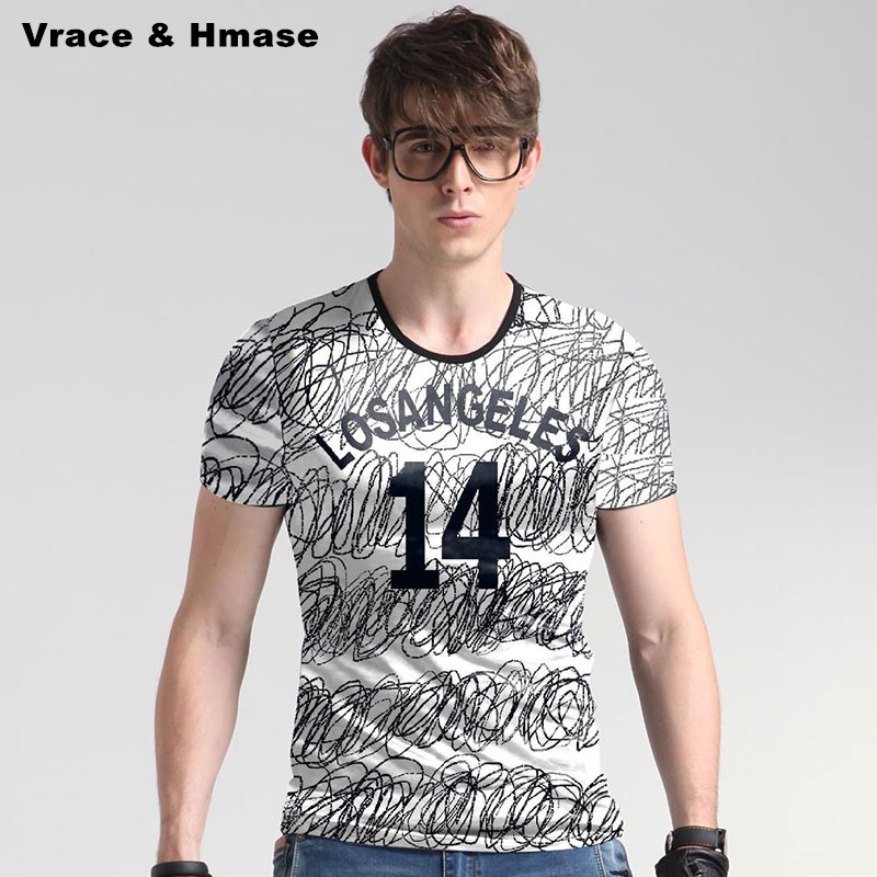 American style messy lines printing fashion slim high end t shirt Summer new arrival ice silk
