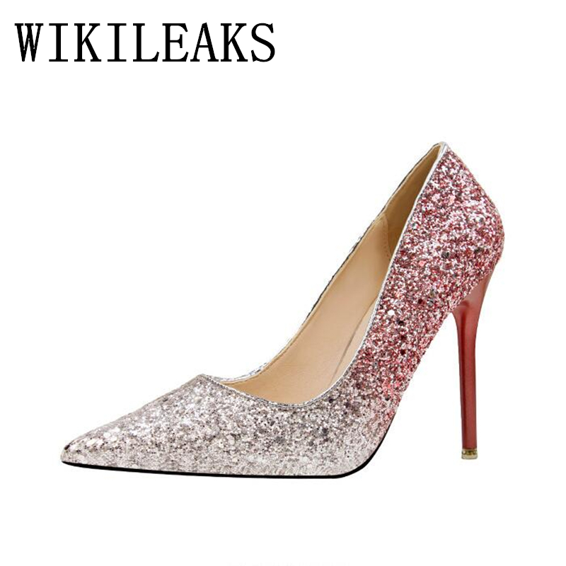 Luxury Brand Women's Sexy Gradient Color Nightclub High Heels Women Pumps Stiletto Thin Heel Pointed Toe Sequined Wedding Shoes doratasia embroidery big size 33 43 pointed toe women shoes woman sexy thin high heels brand pumps party nightclub