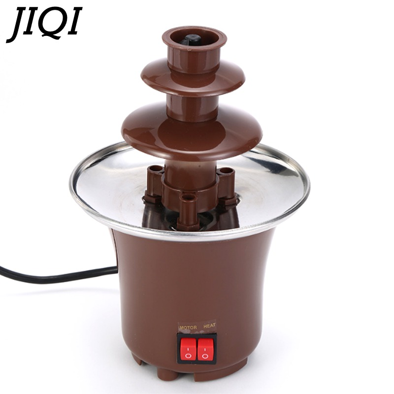 JIQI 3 Layers Mini Chocolate Fountains Fondue Waterfall Maker Machine Home Event Exhibition Wedding Birthday Party EU/US/UK Plug