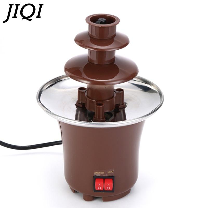 JIQI 3 Layers Mini Chocolate Fountains Fondue Waterfall Maker Machine Home Event Exhibition Wedding Birthday Party EU/US/UK Plug