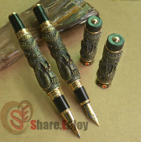 2 PCS JINHAO TWO DRAGON PLAY PEARL BRASS BROAD NIB FOUNTAIN PEN + ROLLER BALL PEN SET цены