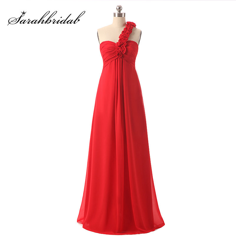 Cheap in Stock Red Long   Prom     Dresses   with Flowers Chiffon Pleated One-Shoulder Simple Party Gowns Wedding Guest   Dress   TJ001