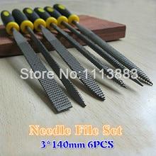 6PCS/SET 3*140mm Jewellers Precision Needle File Set Kit Repair Metal Wood Craft Hobby DIY Tools Flat Square Round