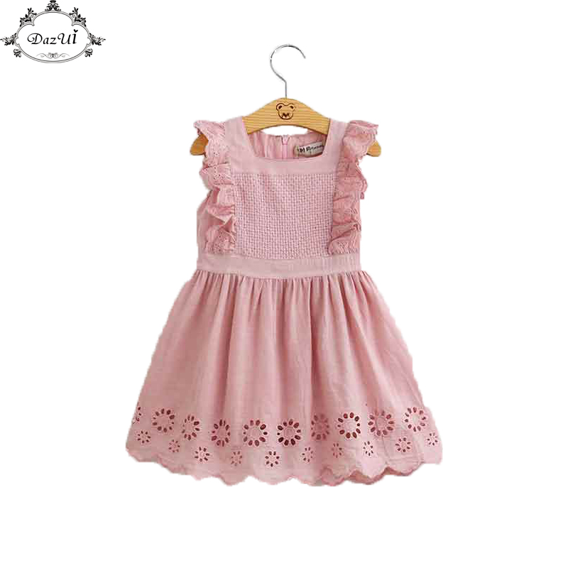 Summer Gilrs Clothes Dusty Rose Ruffle Sleeve Girls Dresses Hollow Out Cute Birthday Little Girls Outfit New Lace Dress ...