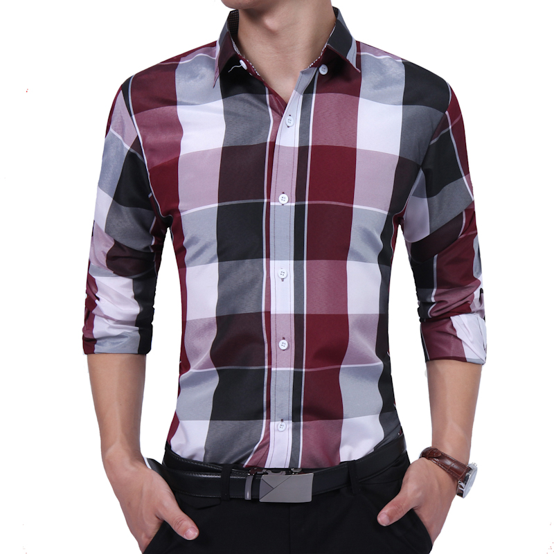 New Autumn 2017 Casual Fashion Men's shirt Long Sleeve Plaid Shirts Mens Shirts Slim Fit Grid Dress Shirt Men Clothing Size XXXL