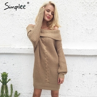 Simplee One Shoulder Sexy Winter Sweater Women Knitted Loose Oversized Sweater Dress 2017 Autumn New Casual