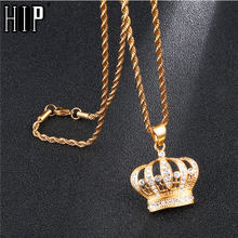 HIP Hop Bling Iced Out King Crown Necklace Rhinestone 316L Stainless Steel Gold Necklaces & Pendants for Men Jewelry Dropship(China)