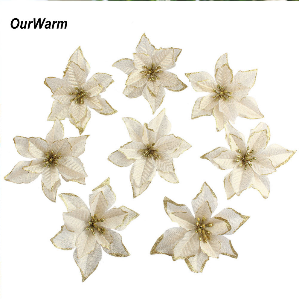 Ourwarm 50pcs glitter poinsettia christmas tree ornaments for Hanging garden ornaments