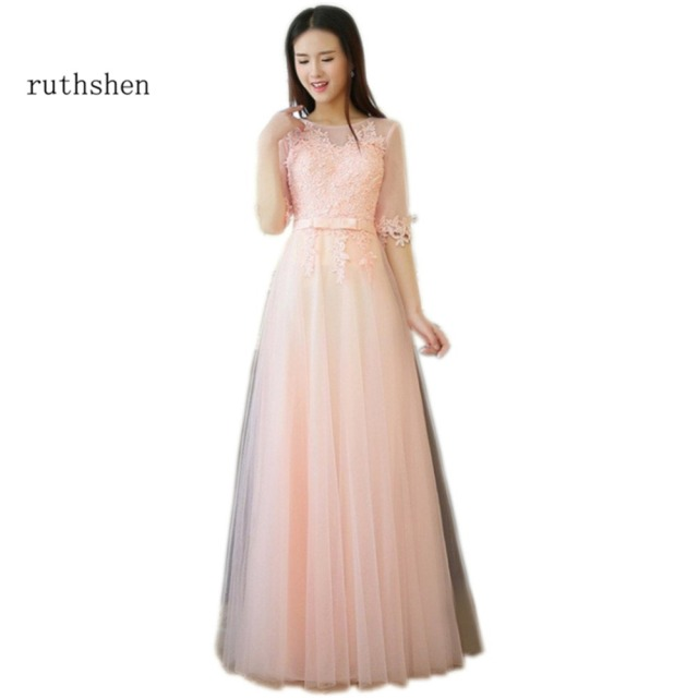 Ruthshen Blush Pink Cheap Prom Dresses Under 50 Lace Appliques