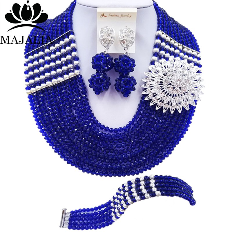 Majalia Official Store Majalia Fashion Classic Nigerian Wedding African Jewelery Royal Blue Crystal Necklace Bride Jewelry Sets Free Shipping 10CJ0023
