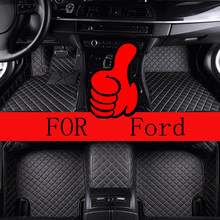Customized Car Floor Mats Specially For Ford Fusion Mondeo Kuga Escape Edge Ranger Endeavour luxury all weather carpet rugs(China)