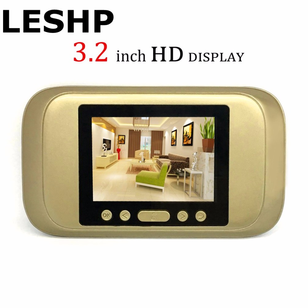 LESHP Digital Door Viewer 3.2 LED Display 720P HD Peephole Viewer Visual Doorbell Night version For Home Security Camera wireless door viewer 4 3inch hd touch screen auto voice reminder smart door peephole camera infrared night version f1426d