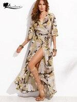Khaleesi Boho Floral Print Chiffon Split Long Dress Women Beach Summer V Neck Kimono Sexy Dress