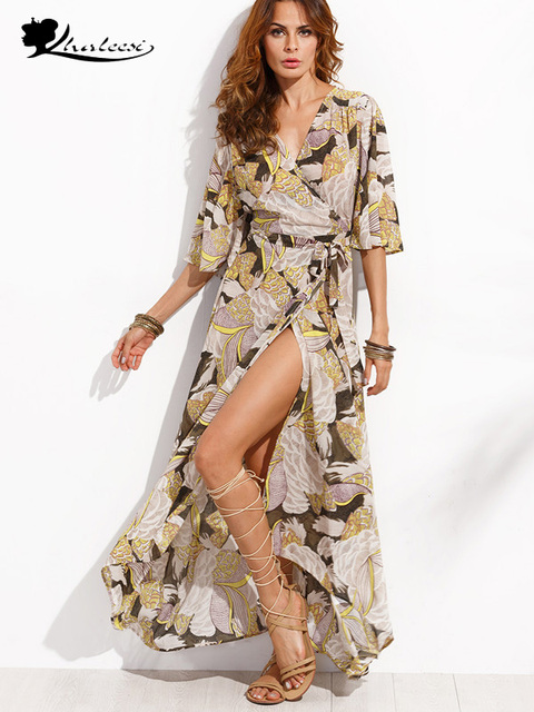 65cde79d485 Khaleesi Boho floral print chiffon split long dress Women beach summer v  neck kimono sexy dress Eleagnt sash wrap maxi dresses