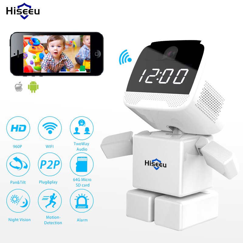 HD 960P HD Wireless Robot IP Camera Wi-fi Network Night Vision Clock Camera WIFI 1.3MP Baby Monitor Security CCTV Hiseeu