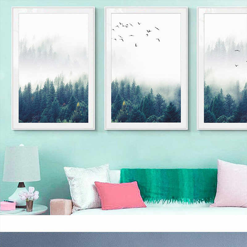 Forest Lanscape Wall Art Wall Picture Poster No Frame Decorative Picture Canvas 1PC Home Decoration Painting Nordic