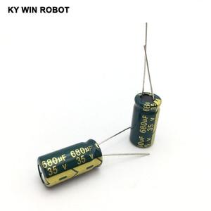 Image 3 - Condensador electrolítico de aluminio, 680 uF, 35 V, 10*20mm, frekuensi tinggi, condensador electrolítico Radial, 10 Uds.