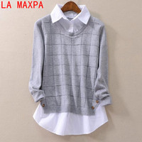 LA MAXPA Women S Sweaters And Pullovers New Knit Turn Down Loose Sweater Female Casual Lady