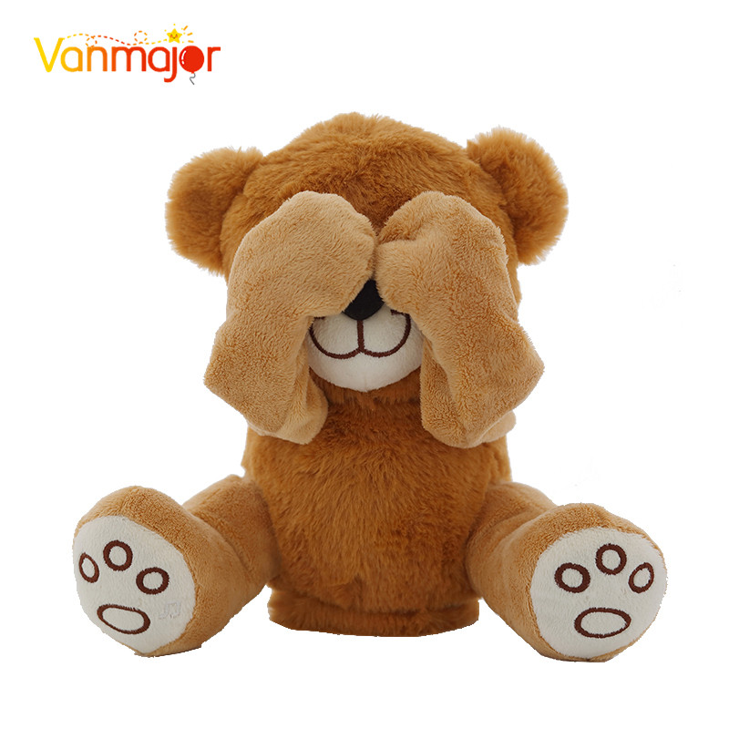 New Bear Toys  Teddy Bear Play Hide And Seek Lovely Cartoon Stuffed Kids Birthday Gift 30cm Cute Music Bear Plush Toy