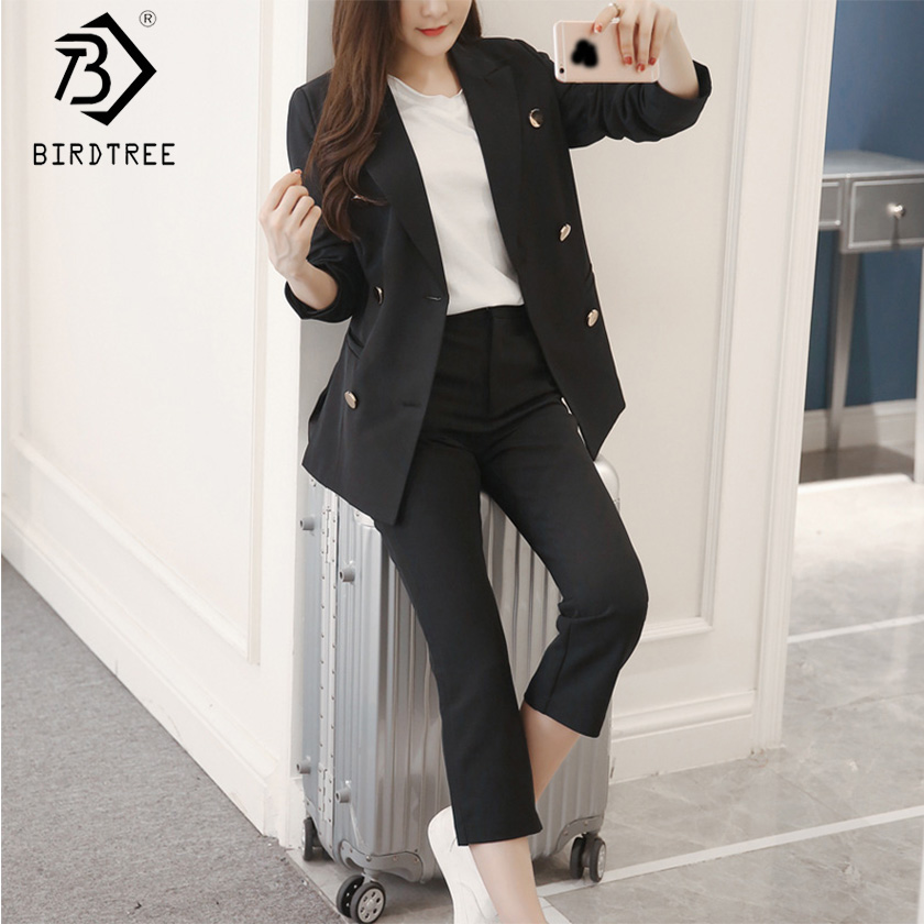 2019 Spring Women Solid Pant Suits Long Sleeve Double Breasted Tops Zipper Pockets Ankle Length Pants Office Lady S91522J