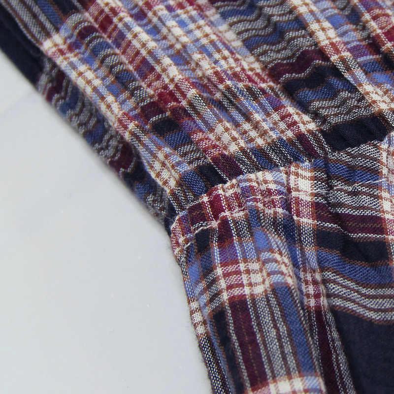 2019 весеннее женское модное повседневное Брендовое платье с длинными рукавами женское элегантное клетчатое ретро платье длиной до щиколотки из хлопка 82133