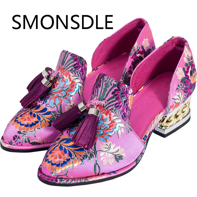 2018 New Chinese Wedding Shoes Pink Shoes Woman Embroidered Shoes Fringe Genuine Leather Slip-On Women Flats new women chinese traditional embroidered shoes f002