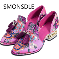 2018 New Chinese Wedding Shoes Pink Shoes Woman Embroidered Shoes Fringe Genuine Leather Slip On Women Flats