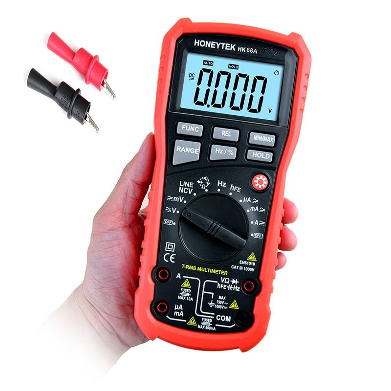 HK68A цифровой Подсветка мультиметр AC/DC Напряжение Амперметр Ток Ом Емкость Частота тестер